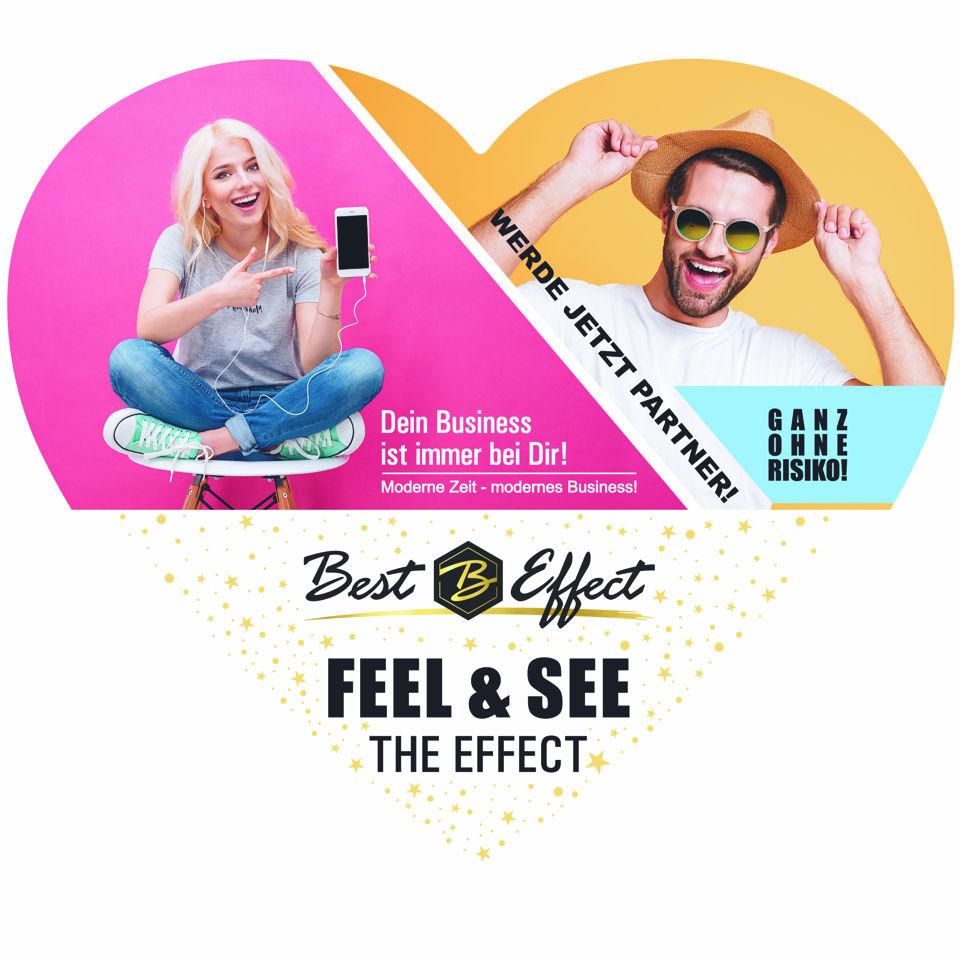 """50er Pack """"Feel the Effect"""" Herzchen Flyer mit Visitenkarte"""